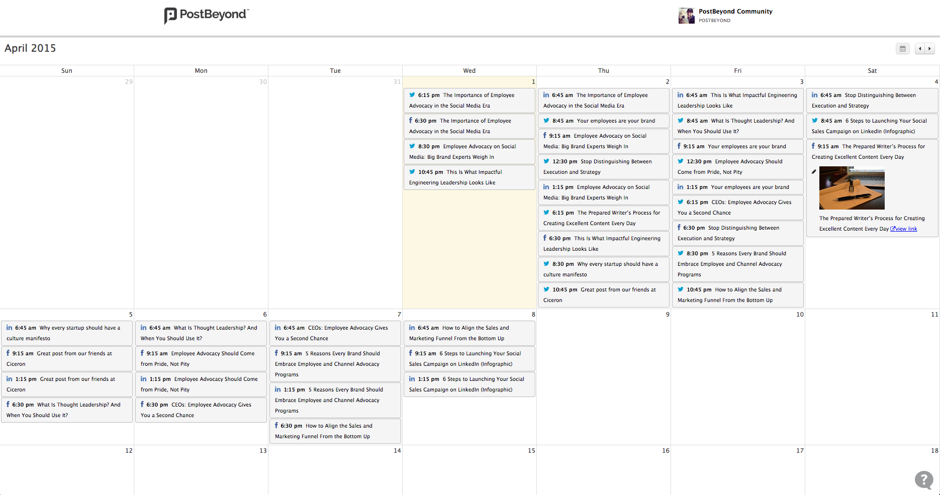 Content Calendar Emplyee Advocacy Features
