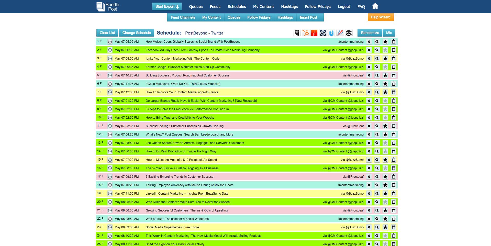 BundlePost Content Schedules
