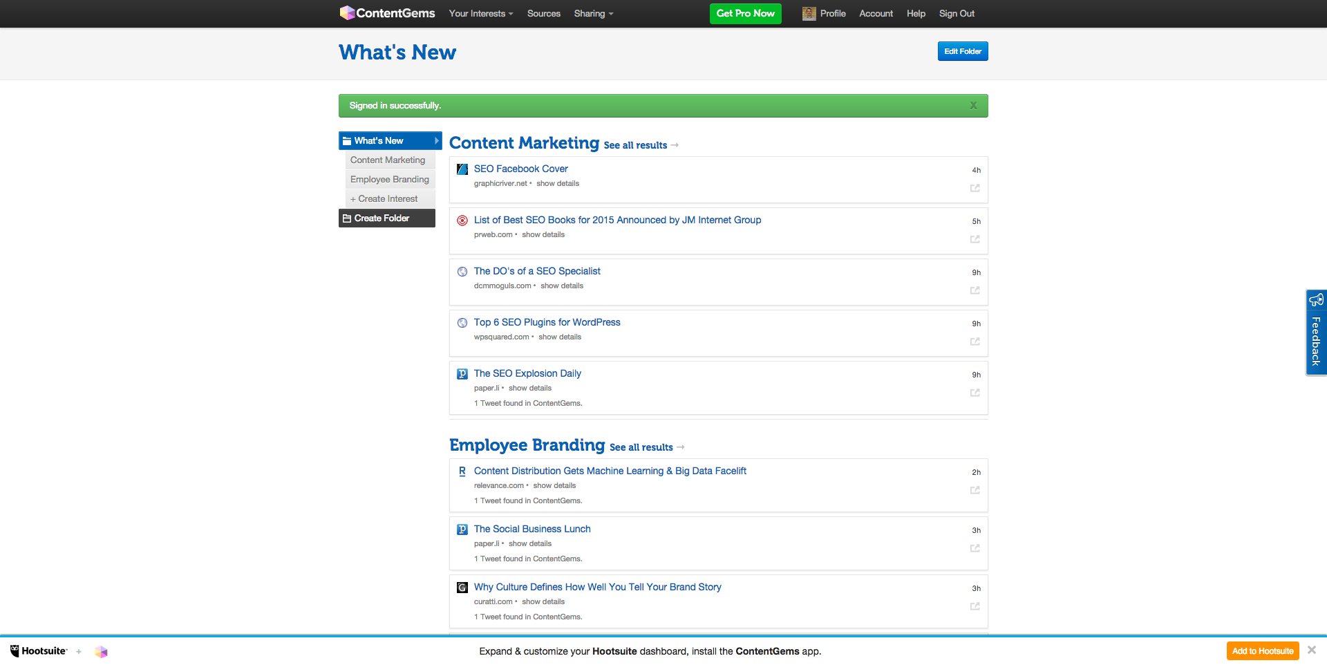 ContentGems Feed Content Marketing Employee Branding