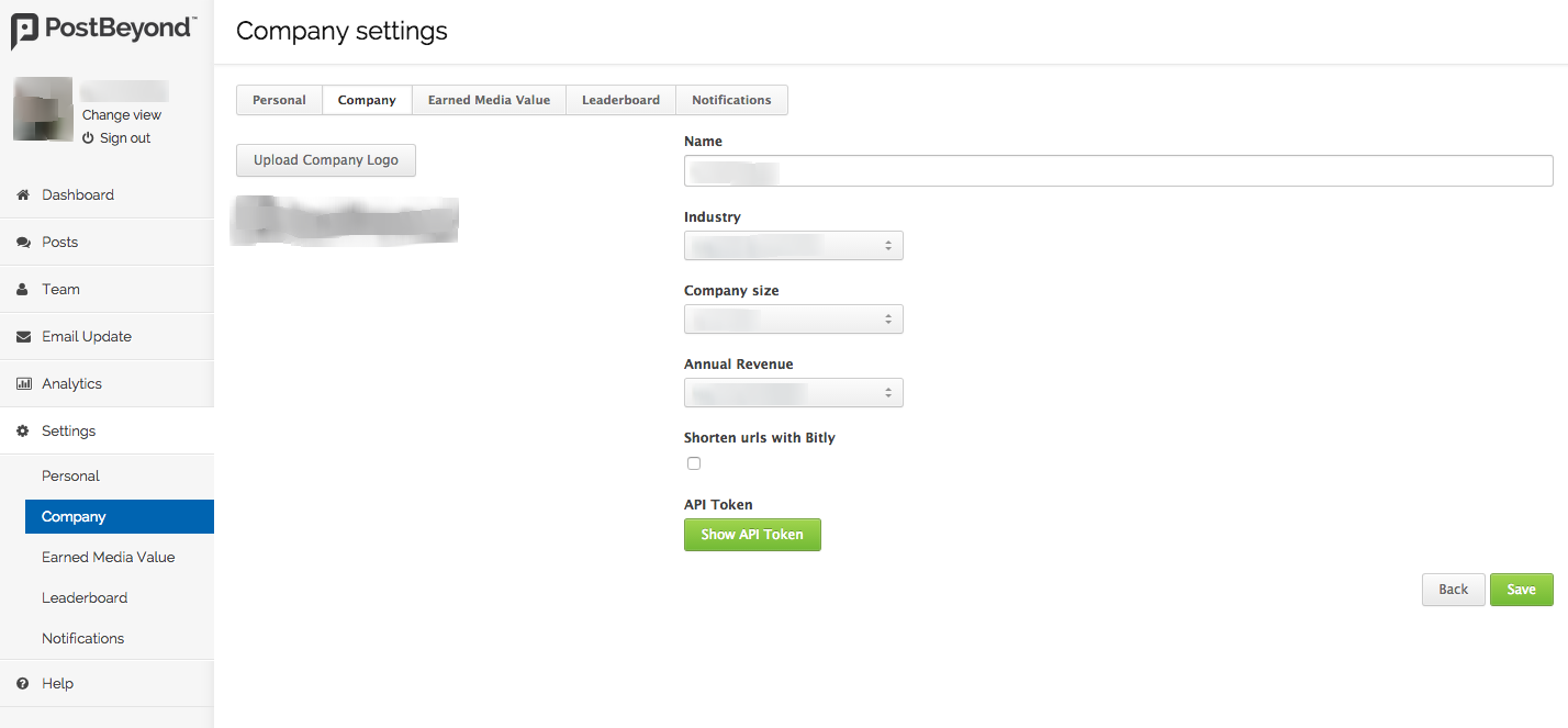 Find PostBeyond API Token employee advocacy wordpress plugin
