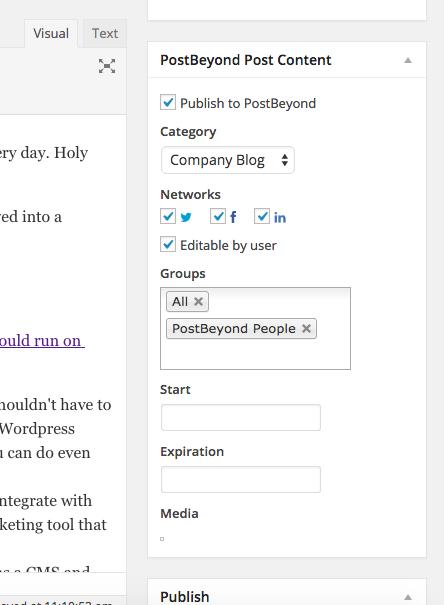 PostBeyond employee advocacy WordPress Plugin