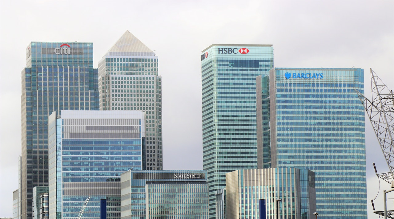 banks in city skyline