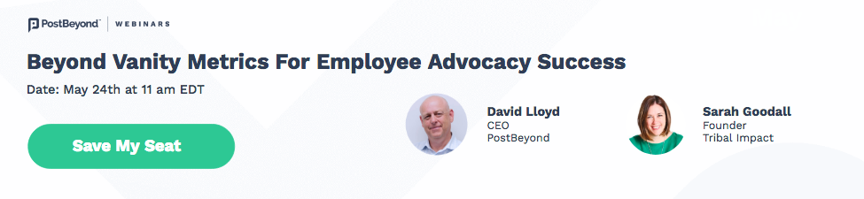 A banner promoting a webinar on employee advocacy metrics