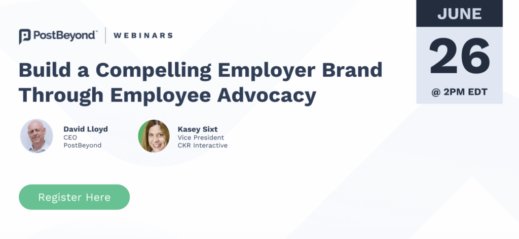 Webinar promotion on employer branding with employee advocacy.
