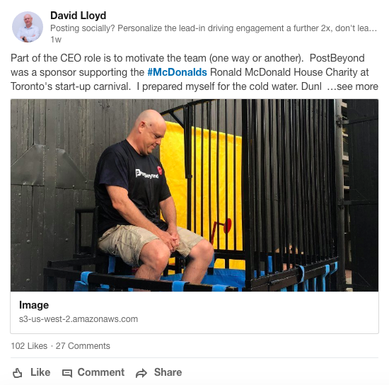David Lloyd's LinkedIn post