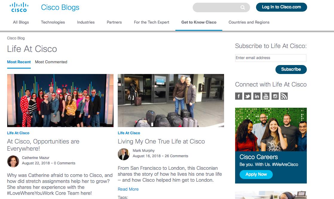 Cisco's employer branding blog