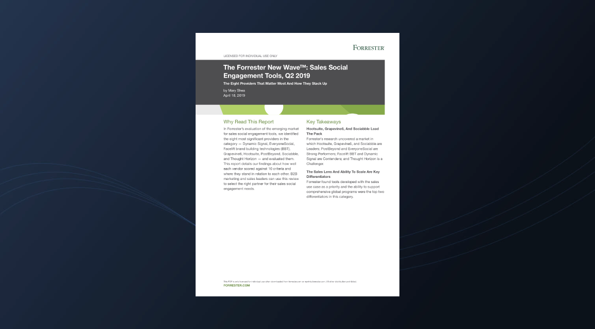 The Forrester New Wave™: Sales Social Engagement Tools, Q2 2019