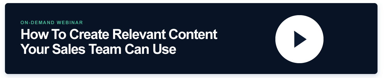 Webinar banner on how to create content for sales