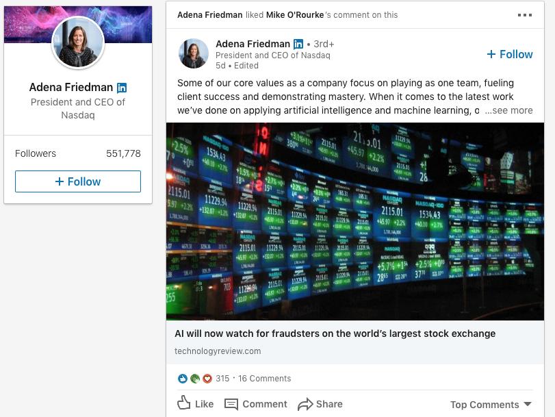 Adena Friedman on LinkedIn