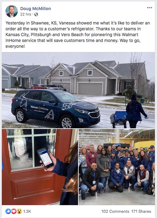 Walmart CEO Doug McMillon on social media