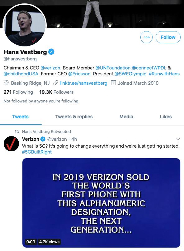 Hans Vestberg, Verizon on social media