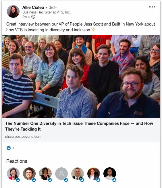 VTS employee advocacy on LinkedIn