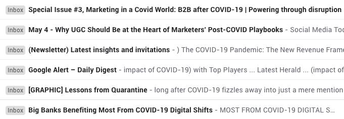 COVID-19 emails screenshot