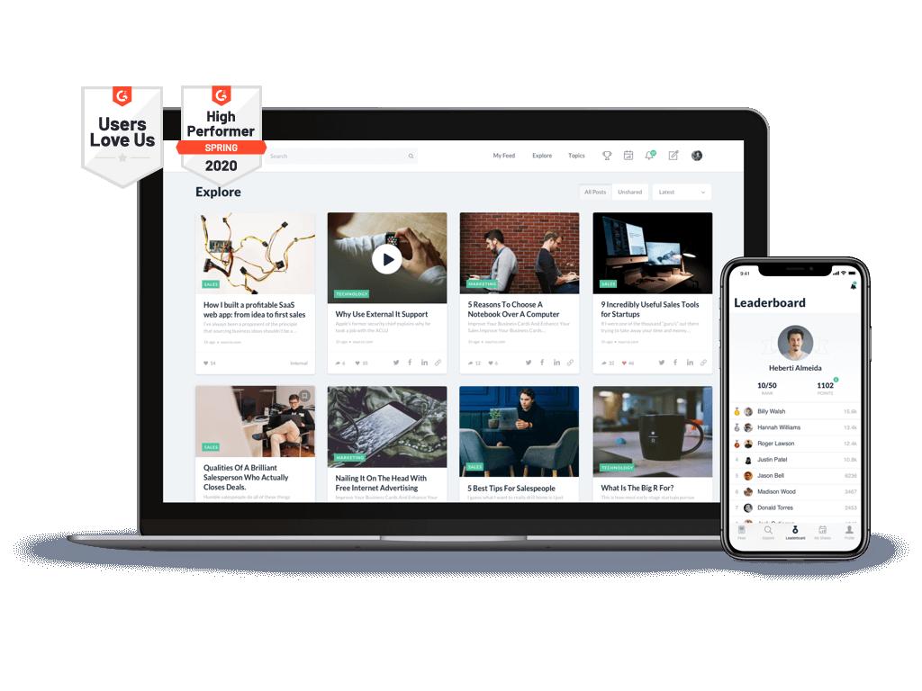 PostBeyond employee advocacy platform on desktop and mobile