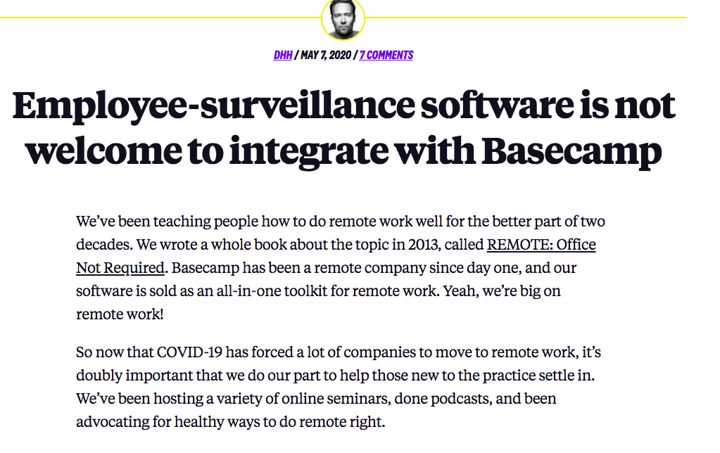 Basecamp blog on employee surveillance