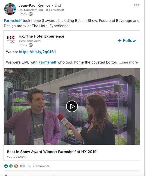 CEO Farmshelf LinkedIn video