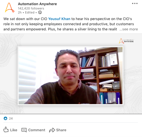 Automation Anywhere CEO Video LinkedIn