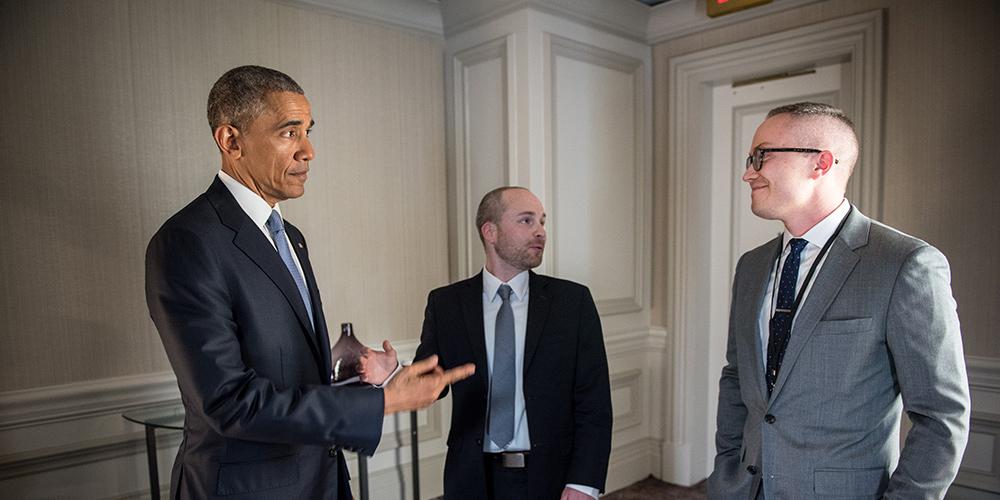 Caleb Gardner and Barack Obama