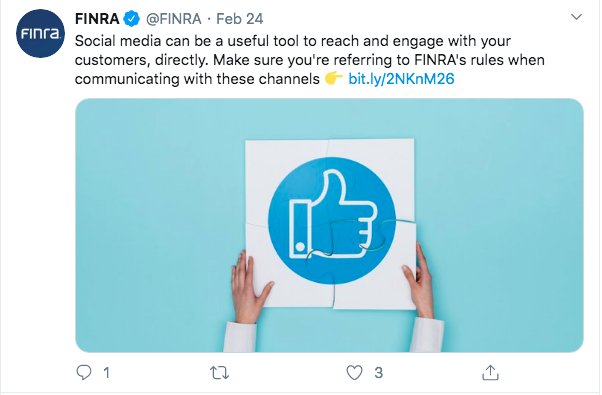 FINRA Twitter post