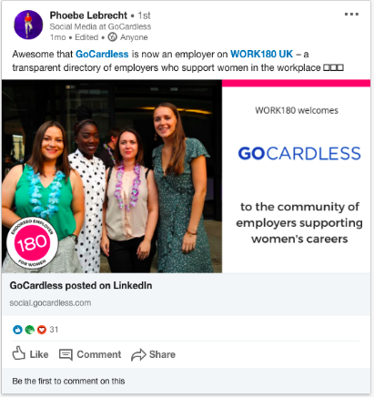 GoCardless Brand Advocacy on Social Media example