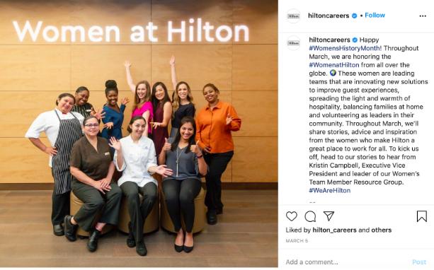 Hilton Instagram post on recruitment
