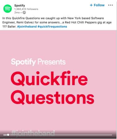 Spotify LinkedIn feature employee post