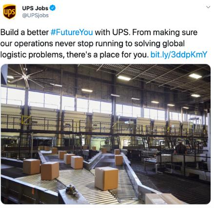 UPS jobs post on Twitter