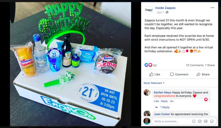 Zappor employee birthday Facebook post