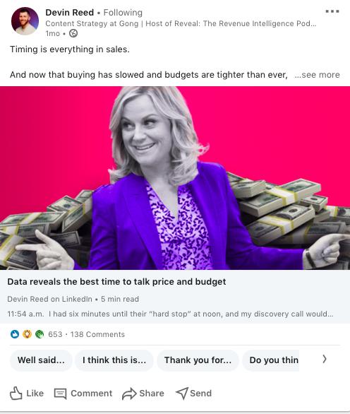 Gong LinkedIn post