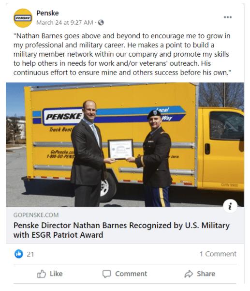 Penske example of employee advocacy