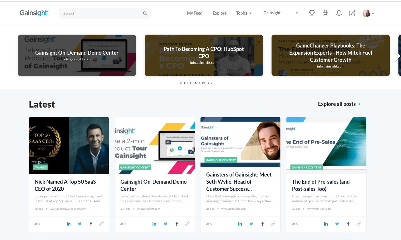 Gainsight employee advocacy platform