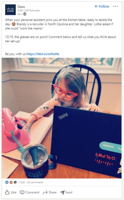 Cisco social media post
